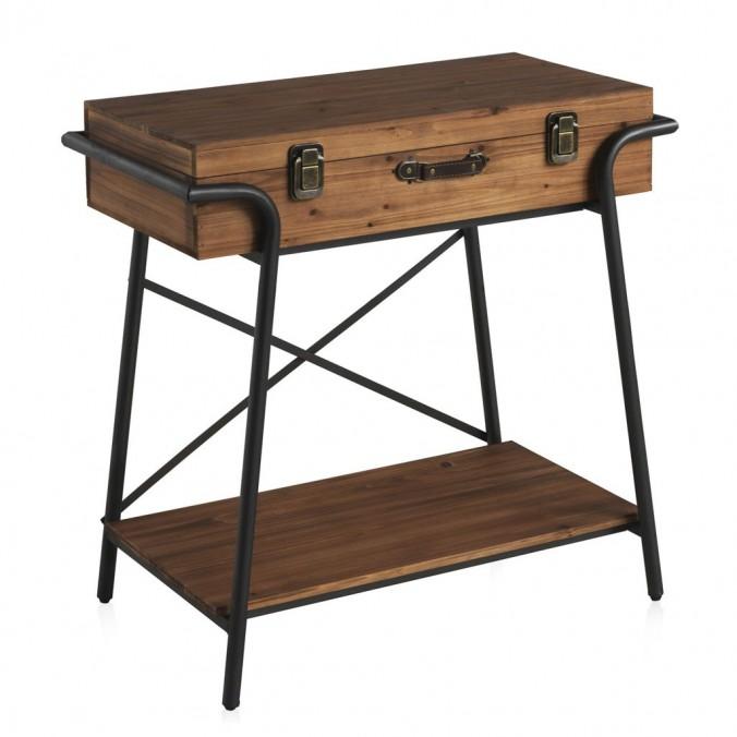 Consola maleta vintage 85x49cm hierro y madera