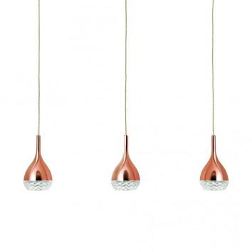 Lámpara techo 3 luces Khalifa cobre