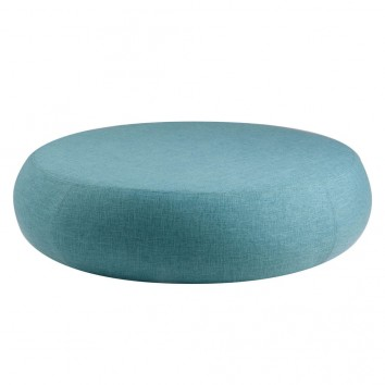 Puff 100cm tapizado tela azul y estructura madera