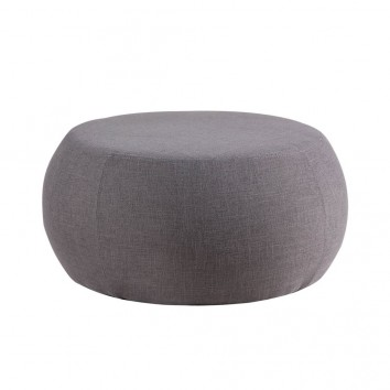 Puff 75cm tapizado tela gris estructura madera