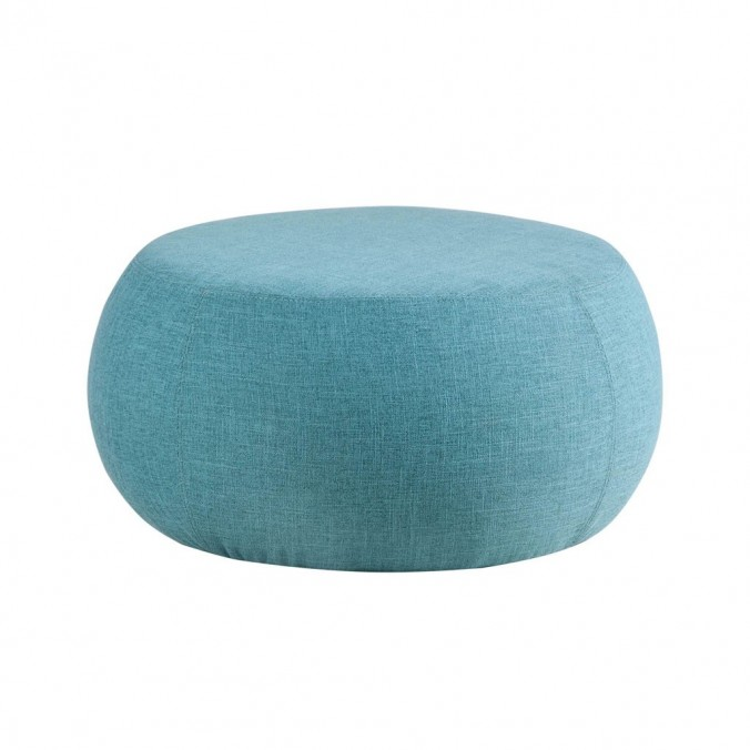 Puff 75cm tapizado tela azul estructura madera