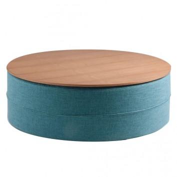 Mesa de centro 80cm tapizado azul y superficie madera
