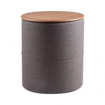 Mesa auxiliar 45cm tapizado gris y superficie madera