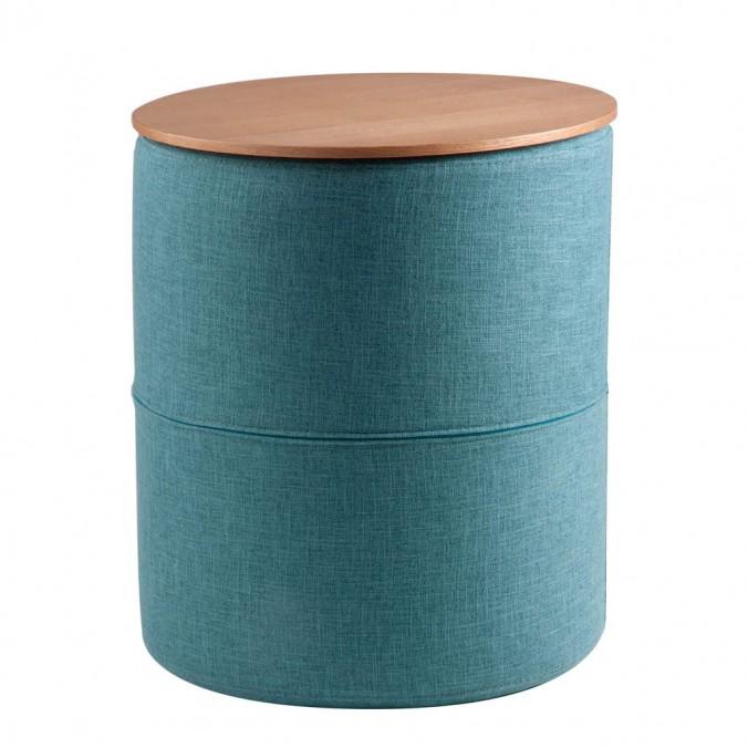 Mesa auxiliar 45cm tapizado azul y superficie madera