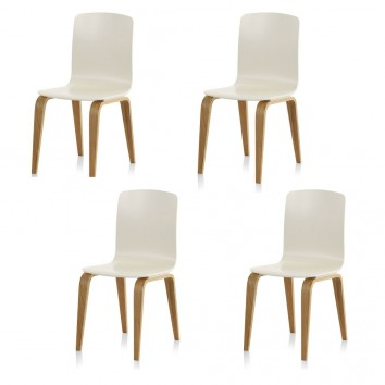 PAck 4 sillas estilo nórdico 42x53x88h contrachapado roble