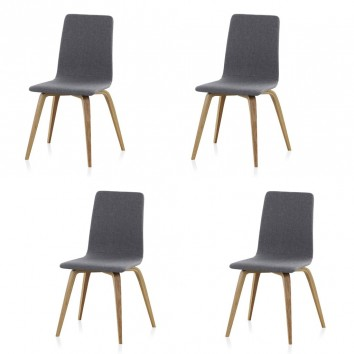 Pack 4 sillas estilo nórdico 44x51x88h contrachapado roble