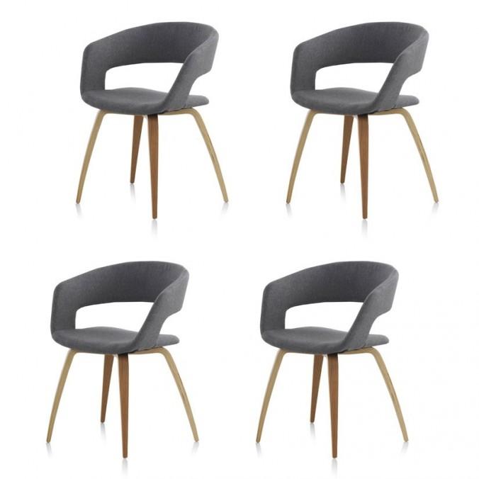 Pack 4 sillas estilo nórdico 57x53x77h contrachapado roble