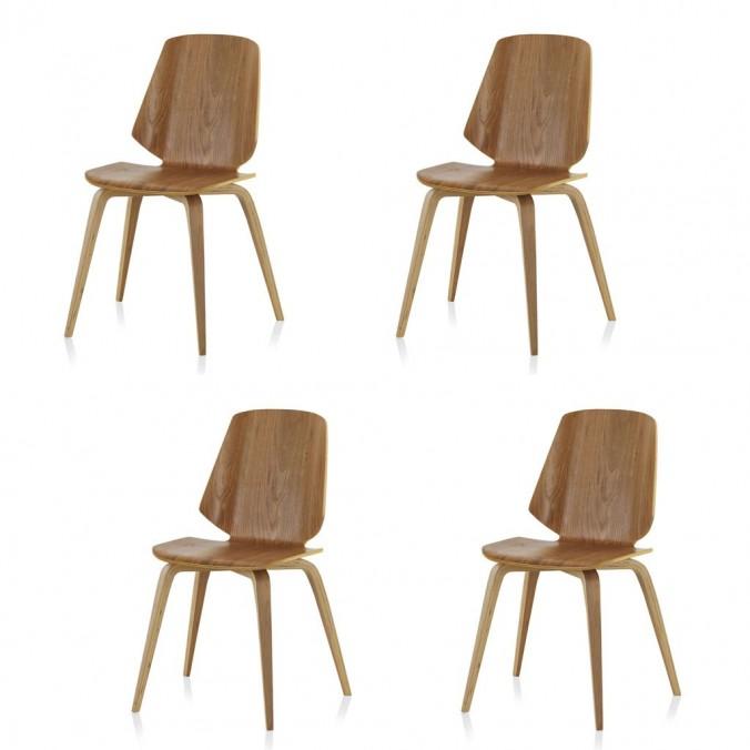 Pack 4 sillas estilo nórdico 43x51x84h de contrachapado de roble