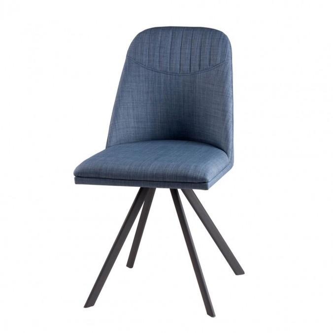 Silla giratoria CRIS color azul tapizada en tela