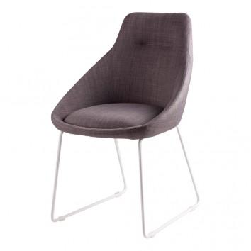 Silla diseño ALBA tapizado gris y patas color blanco