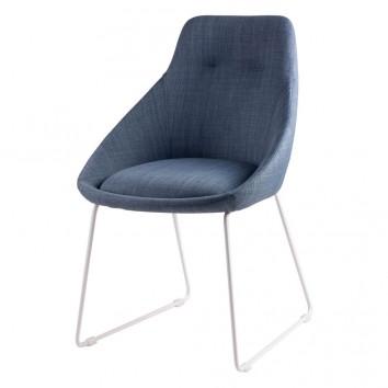 Silla diseño ALBA tapizado azul y patas color blanco
