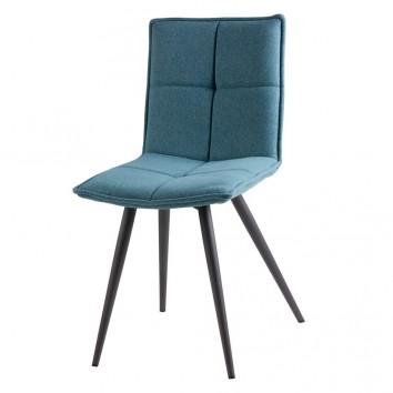 Silla diseño ZOE tapizado azul y patas color negro