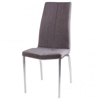 Silla CARLA tapizado gris y patas metal cromo