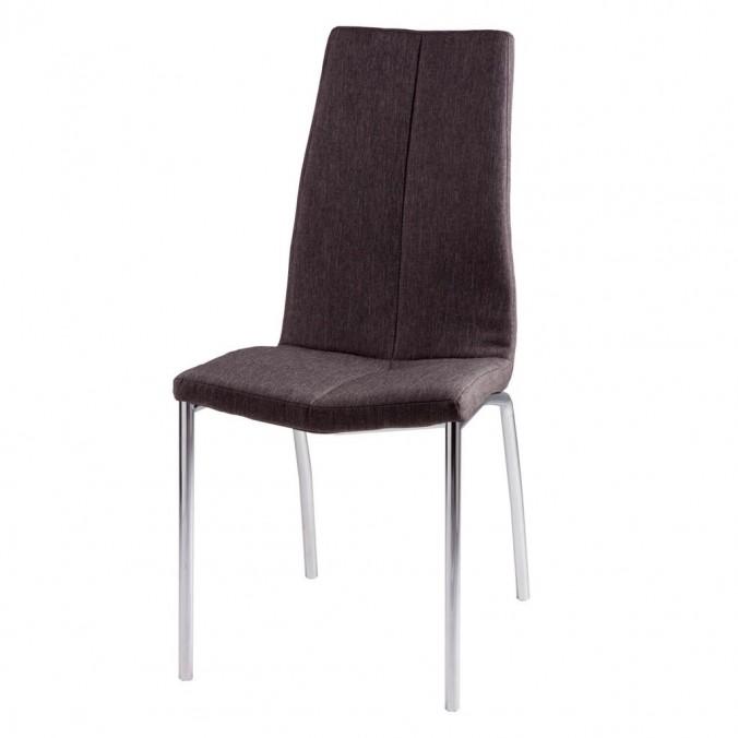 Silla CARLA tapizado gris oscuro y patas metal cromo