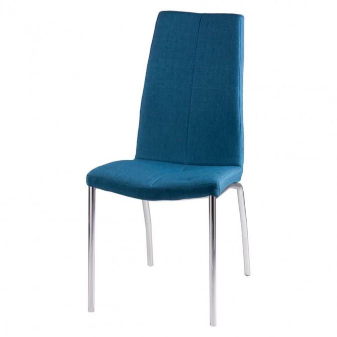 Silla CARLA tapizado azul oscuro y patas metal cromo