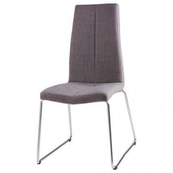 Silla AROA tapizado gris y patas metal cromo
