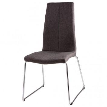 Silla AROA tapizado gris oscuro y patas metal cromo