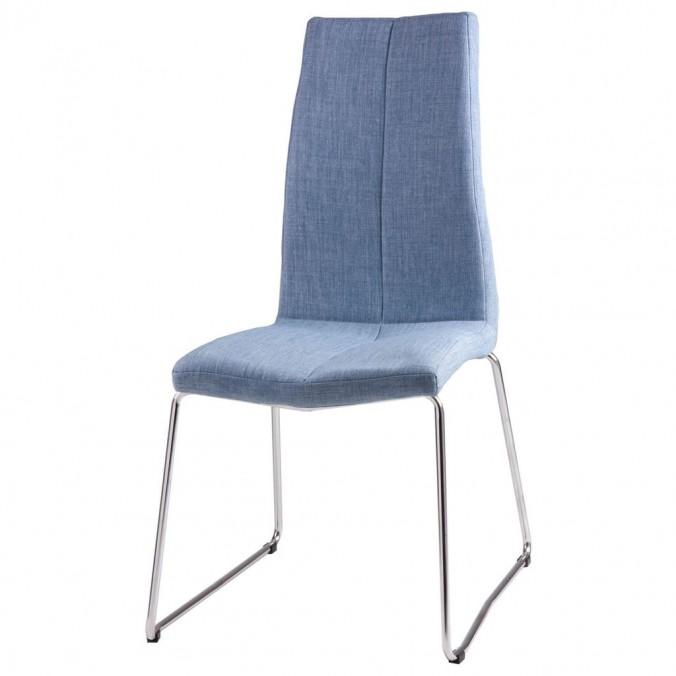 Silla AROA tapizado azul claro y patas metal cromo
