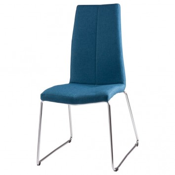 Silla AROA tapizado azul y patas metal cromo