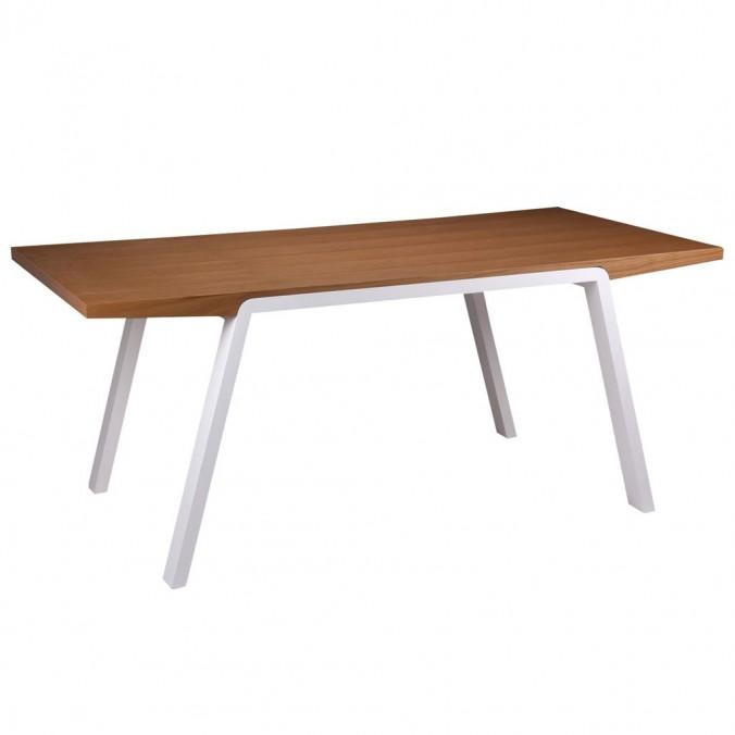 Mesa comedor 180cm STELA chapa roble patas blancas