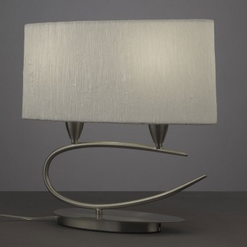 Lámpara de mesa 2 luces LUA niquel pantalla blanca