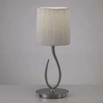 Lámpara de mesa pequeña LUA niquel pantalla blanca
