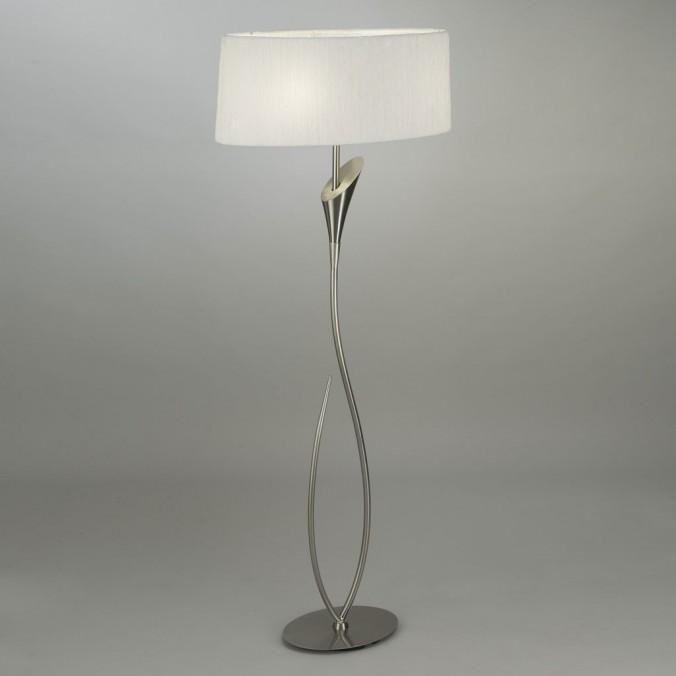Lámpara de pie LUA niquel pantalla blanca