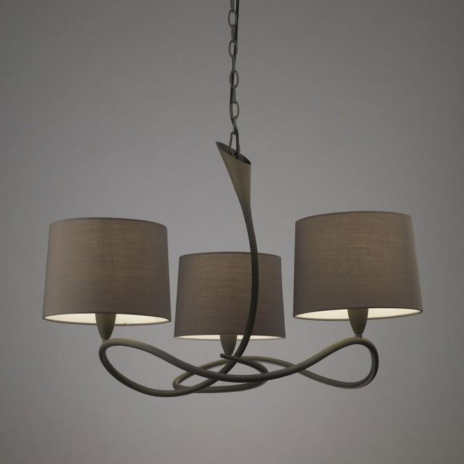Lámpara techo 3 luces LUA gris ceniza