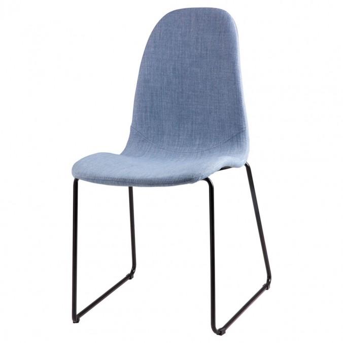 Silla HELENA tapizado azul claro y patas metal negro