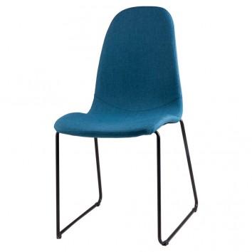 Silla HELENA tapizado azul y patas metal negro