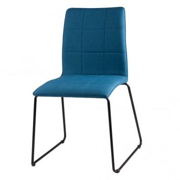 Silla MALINA tapizado azul y patas metal negro