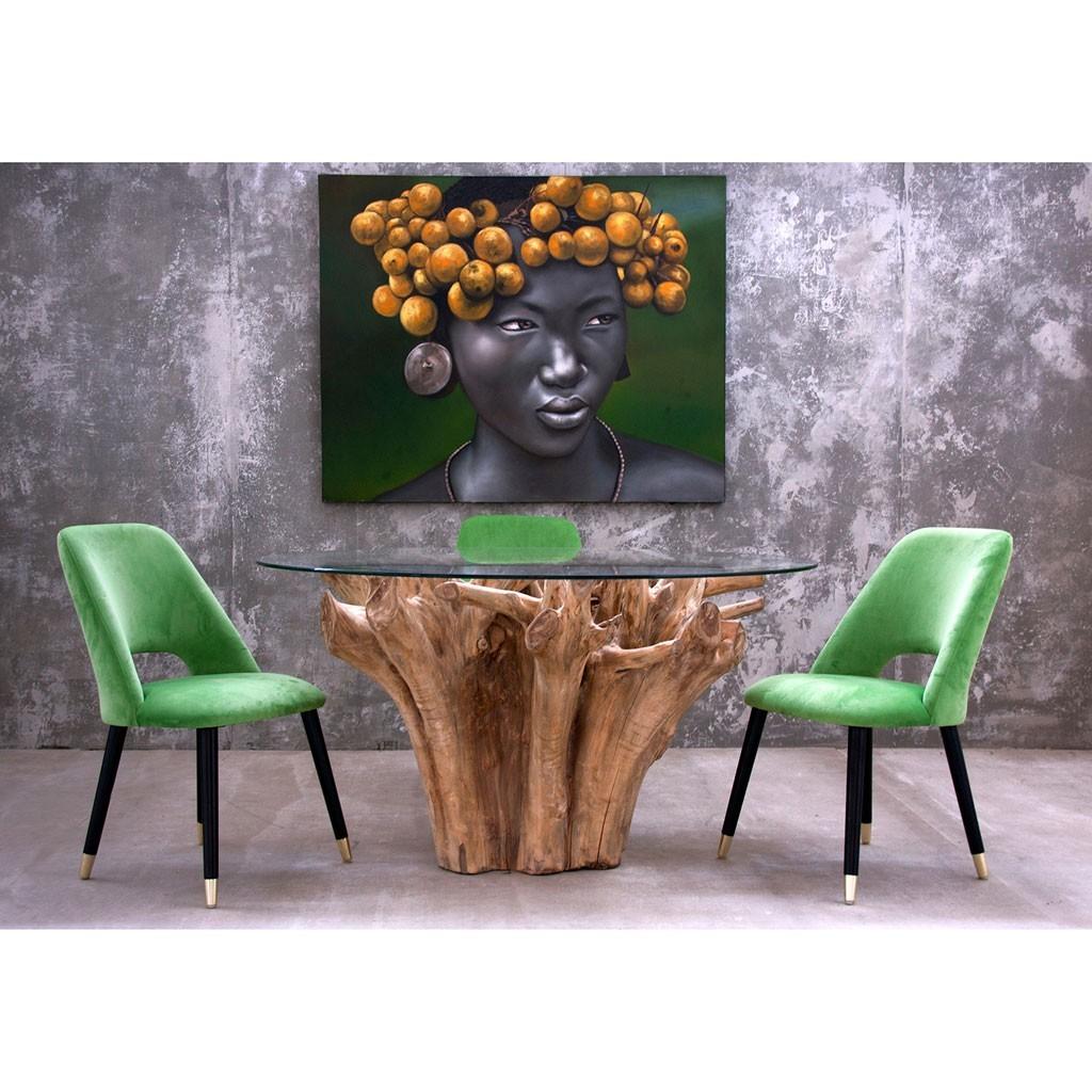 Mesas hechas con raices y troncos